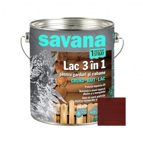 Lac pentru lemn Savana 3 in 1 - garduri si cabane, mahon, pe baza de apa, interior / exterior, 2.5 L