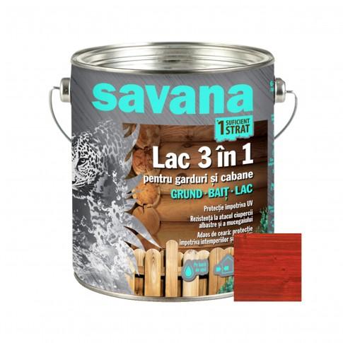 Lac pentru lemn Savana 3 in 1 - garduri si cabane, cires, pe baza de apa, interior / exterior, 2.5 L