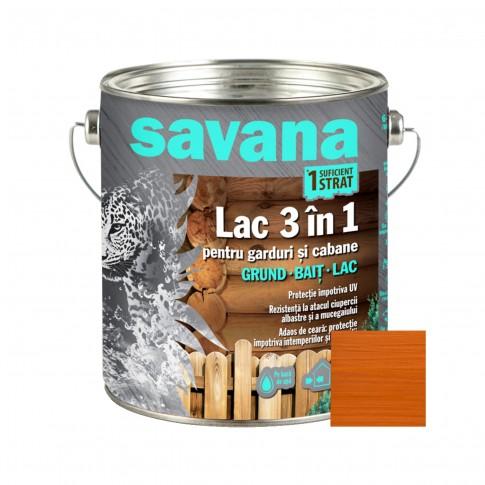 Lac pentru lemn, Savana 3 in 1 - garduri si cabane, pin antic, pe baza de apa, interior / exterior, 2.5 L