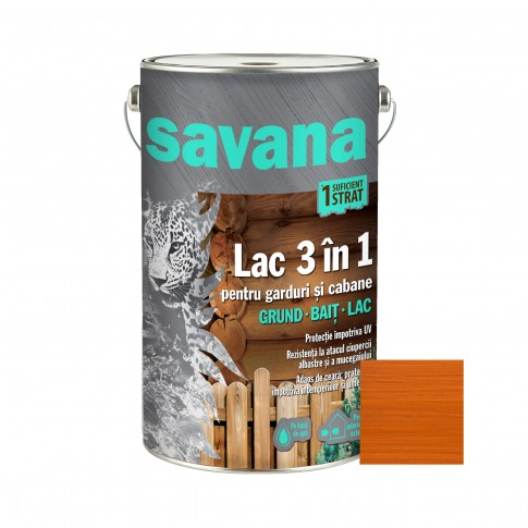 Lac pentru lemn, Savana 3 in 1 - garduri si cabane, pin antic, pe baza de apa, interior / exterior, 5 L