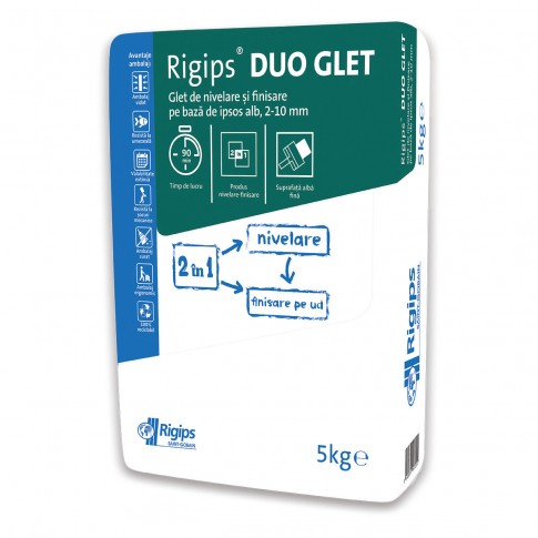 Glet de finisare Rigips DuoGlet, pe baza de ipsos, interior, 5 kg