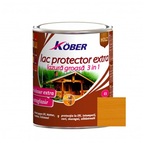Lac / lazura extra 3 in 1 pentru lemn, Kober Extra, stejar, interior / exterior, 2.5 L