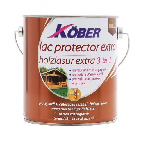 Lac / lazura extra 3 in 1 pentru lemn, Kober Extra, tec, interior / exterior, 2.5 L