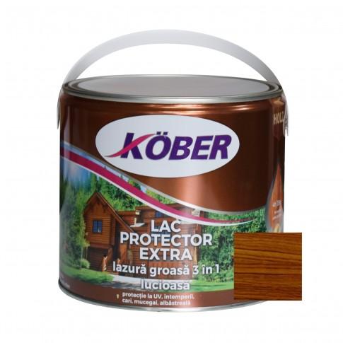 Lac / lazura groasa pentru lemn, Kober Extra 3 in 1, nuc, interior / exterior, 2.5 L
