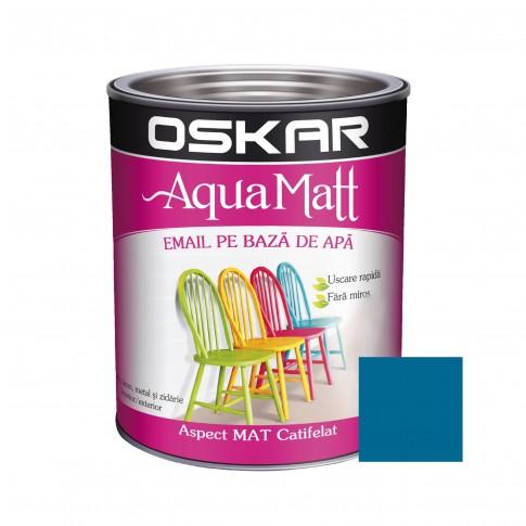 Vopsea pentru lemn / metal, Oskar Aqua Matt, interior / exterior, pe baza de apa, turcoaz couture, 0.6 L