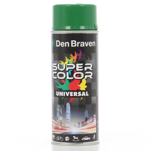 Spray vopsea, Den Braven Super Color Universal, verde smarald RAL 6001, interior / exterior, 400 ml