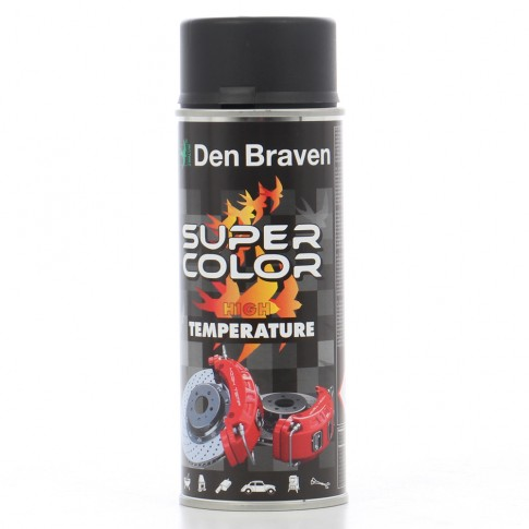 Spray vopsea rezistent la temperaturi ridicate, Den Braven Super Color High Temperature, negru, interior / exterior, 400 ml