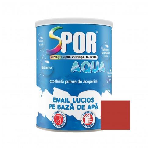 Vopsea acrilica pentru lemn / metal, Spor Aqua, interior / exterior, pe baza de apa, rosie, 0.7 L