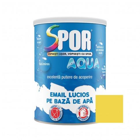 Vopsea acrilica pentru lemn / metal, Spor Aqua, interior / exterior, pe baza de apa, galbena, 0.7 L