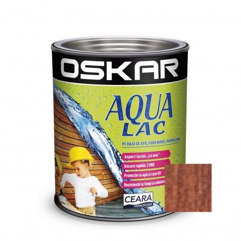 Lac pentru lemn Oskar Aqua Lac, castan, pe baza de apa, interior / exterior, 2.5 L