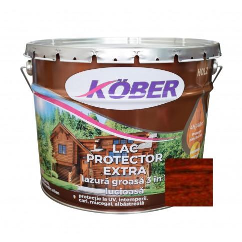 Lac / lazura groasa pentru lemn, Kober Extra 3 in 1, mahon, interior / exterior, 10 L