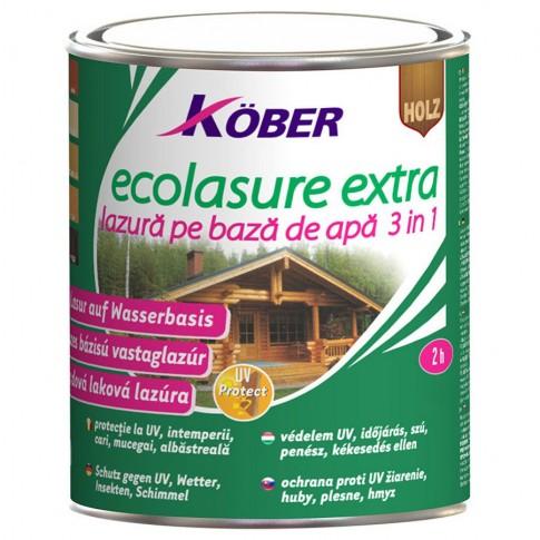 Lac / lazura 3 in 1 pentru lemn, Kober Ecolasure Extra, tec, pe baza de apa, interior / exterior, 10 L