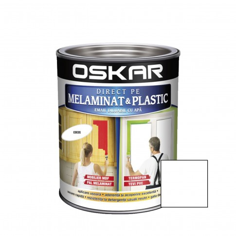 Vopsea Direct pe melaminat si plastic Oskar, interior / exterior, diluabila cu apa, alba, 0.6 L