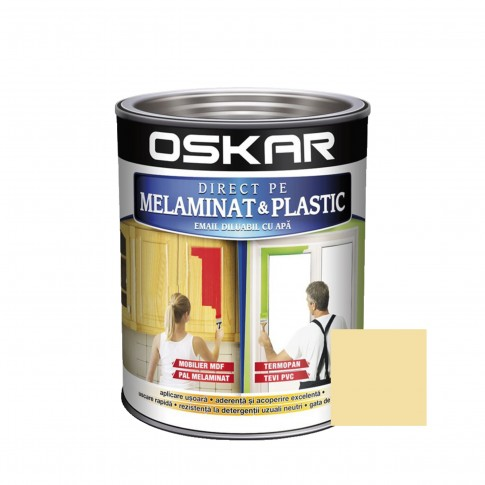 Vopsea Direct pe melaminat si plastic Oskar, interior, diluabila cu apa, bej / vanilla, 0.6 L