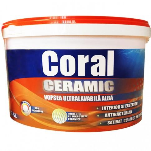 Vopsea ultralavabila, interior / exterior, Coral Ceramic, alba, 8.5 L