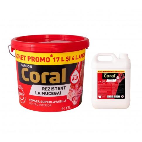 Vopsea superlavabila interior, Coral, rezistenta la mucegai, alb, 17 L + amorsa speciala Coral, alb, 4 L