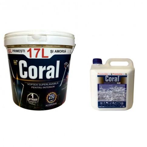 Vopsea superlavabila interior, Coral, alba, 17 L + amorsa speciala Coral, alba, 4 L