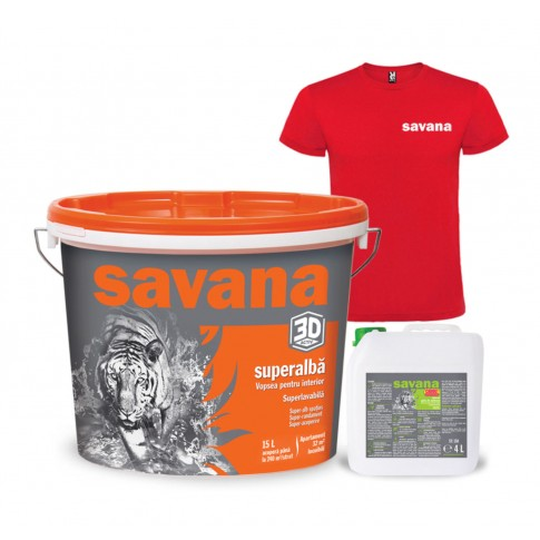 Vopsea superlavabila interior, Savana, alba, 15 L + amorsa 4 L + tricou