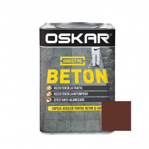 Vopsea acrilica Direct pe beton Oskar, interior / exterior, maro roscat, 0,75 L