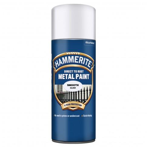 Spray email Hammerite, efect lucios, interior / exterior, argintiu, 0.4 L