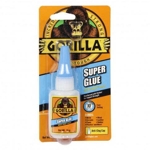 Adeziv universal Gorilla Super Glue, transparent, 15 gr.