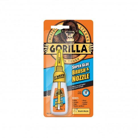 Adeziv universal Gorilla Super Glue Brush & Nozzle, transparent, 12 gr.