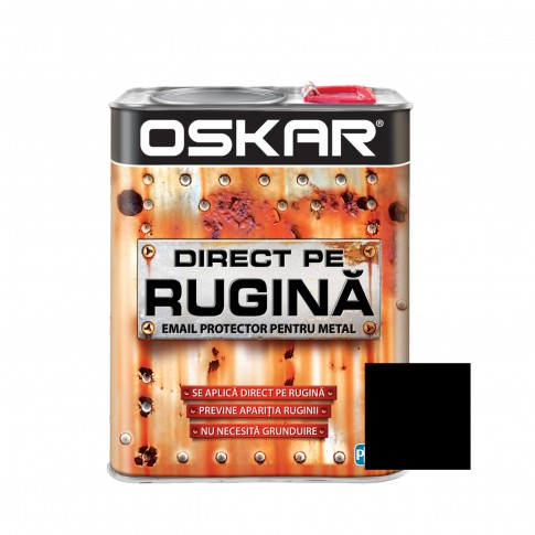 Vopsea alchidica Direct pe rugina Oskar, interior / exterior, negru lucios, 2.5 L