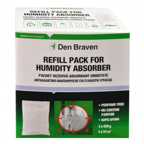Rezerve aparat absorbant umiditate Den Braven Clasic, interior, 3 x 450 g