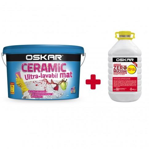 Vopsea ultralavabila interior/exterior, Oskar Ceramic mat, alba, 15 L + amorsa Oskar Zero Mucegai, 4 L
