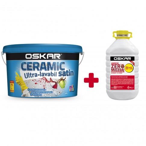 Vopsea ultralavabila, interior / exterior, Oskar Ceramic satinat, alba, 15 L + amorsa Oskar Zero Mucegai, 4 L