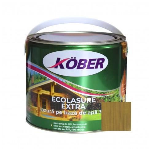 Lac / lazura 3 in 1 pentru lemn, Kober Ecolasure Extra, nuc, pe baza de apa, interior / exterior, 2.5 L