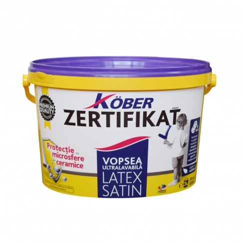 Vopsea ultralavabila interior, Kober Zertifikat Satin Latex, alba, 3 L