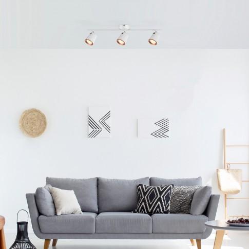 Plafoniera LED Solange 5047, 3 x 6W, 3 x 380 lm, lumina calda, alb + auriu