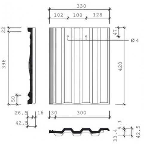 Tigla de beton 1/1 Bramac Markant, natur