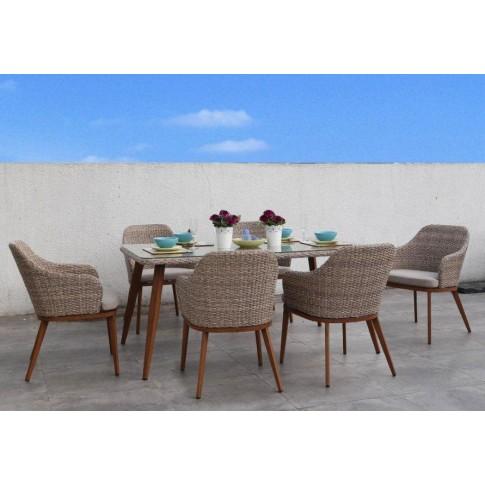 Set masa dreptunghiulara, cu 6 scaune cu perne, pentru gradina Bali, din metal cu ratan sintetic