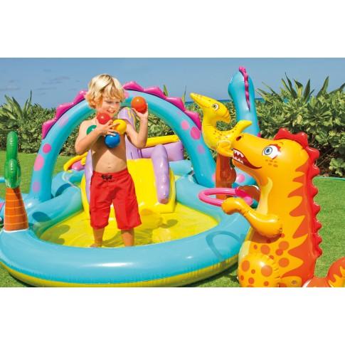 Piscina gonflabila Intex Dinoland 57135NP, pentru copii, cu accesorii, 333 x 229 x 112 cm
