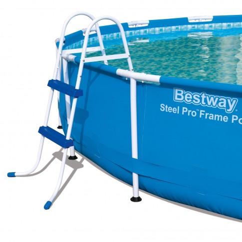 Scara pentru piscina, Bestway 58430, metal + plastic, H 84 cm