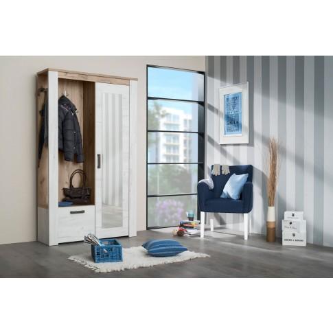 Cuier hol Kent PS cu 7 agatatori, oglinda, dulap si comoda, stejar alb + stejar gri, 2 usi, 1140 x 365 x 1950 mm, 2C