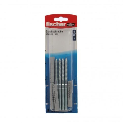 Prezon lemn / metal, Fischer STS, din otel, 8 x 120 mm + diblu nylon, UX 10, set 4 bucati