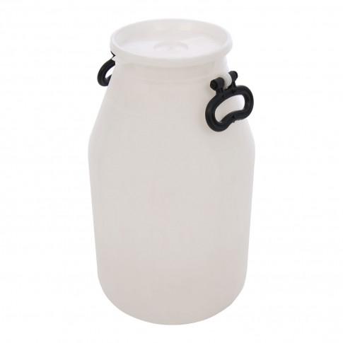Bidon Plastor Lacta 24354, alb, pentru lapte, cu capac, 29.4 x 51 cm, 25L