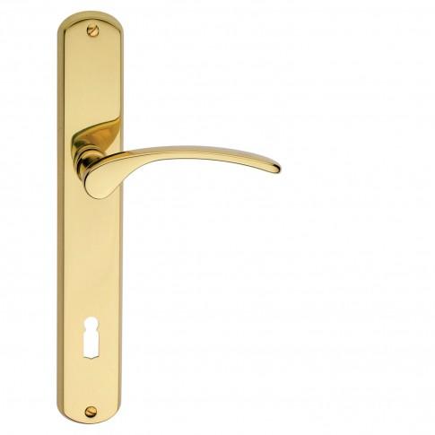 Maner usa interior, cu sild, Verofer Vienetta, pentru cheie, alama, auriu lucios, BB 90 mm