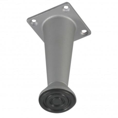 Picior mobila, universal, metalic, reglabil, crom satinat, rotund, 80 mm