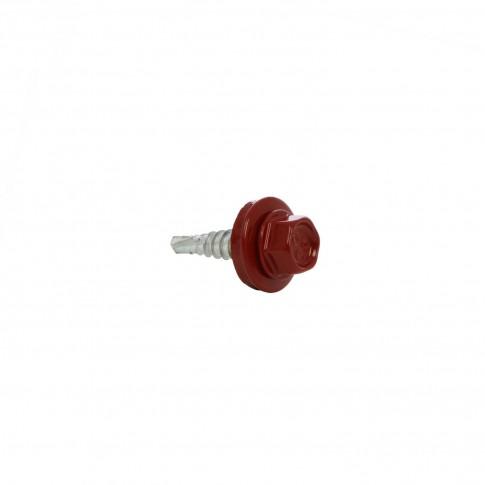 Surub pentru tigla metalica, autoforant, Gunnebo, rosu RAL 3011, 4,8 x 20 mm, 250 bucati