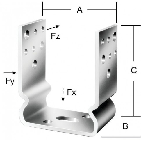 Papuc reazem din tabla de otel zincat, 121 x 60 x 125 mm