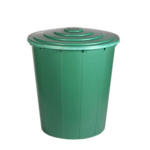 Butoi / cada plastic Plastor 24134, cu capac, 200 litri, verde, visiniu D 80 cm
