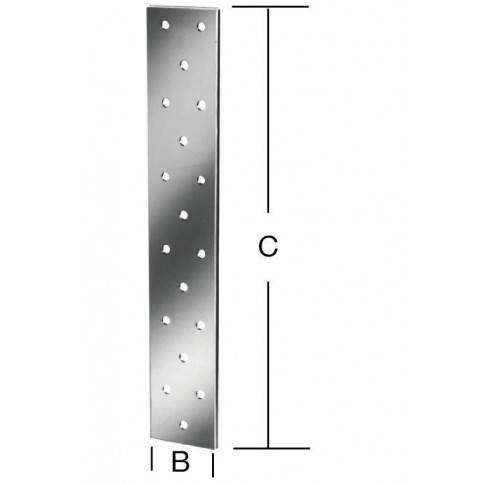 Placa perforata plata, pentru constructii din lemn, din otel zincat alb, 40 x 250 mm