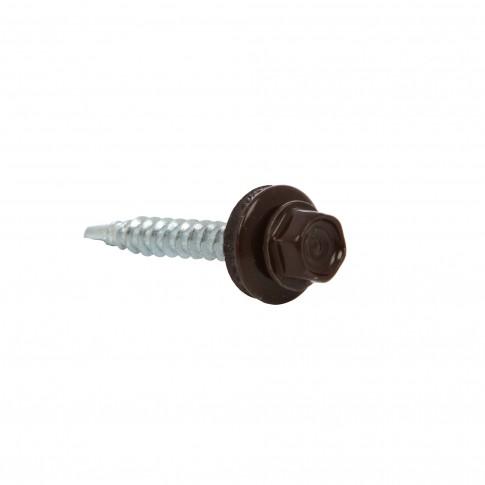 Surub pentru tigla metalica, autoforant, Gunnebo, maro RAL 8017, 4,8 x 35 mm, 250 bucati
