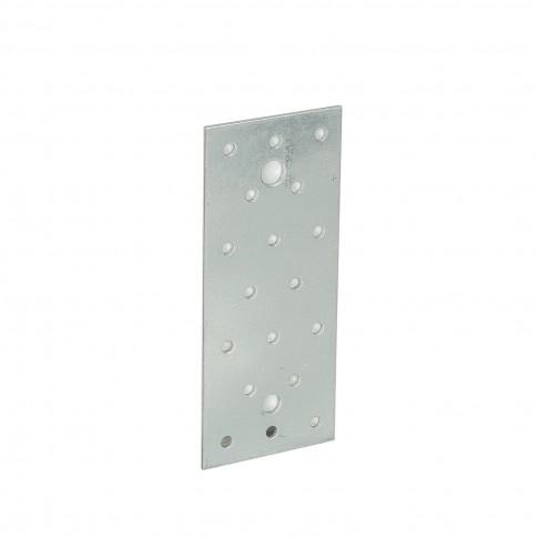 Placa perforata plata, pentru constructii din lemn, din otel zincat alb, 60 x 140 mm