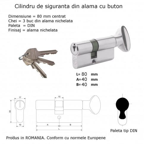 Cilindru de siguranta centrat, nichelat, buton cu 3 chei, L80 40 x 40 mm DIN