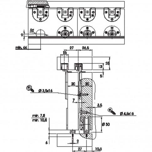 Sistem de glisare pentru mobila Koblenz 60 kg 428.11.00